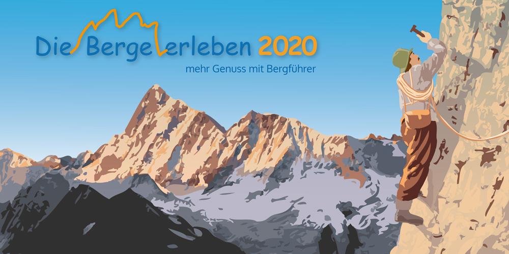 Jahresprogramm 'Die Berge erleben 2020' im Vintage-Style (Vintage-Vektoren-Grafik) von Greenlight Werbung